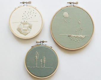 Grow Set Contemporary Embroidery Hoop Art, Various Sizes