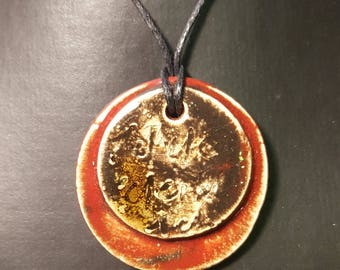 Red and Brown glazed ceramic pendant