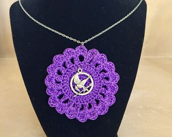 Crochet Necklace with Mockingjay Charm / Crochet Pendant / Crochet Jewelry / Charm Necklace / Gifts for her