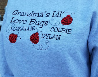 Personalized Grandma's Lil' Love Bugs Ladybug Themed Sweatshirt - Embroidered Design With Names