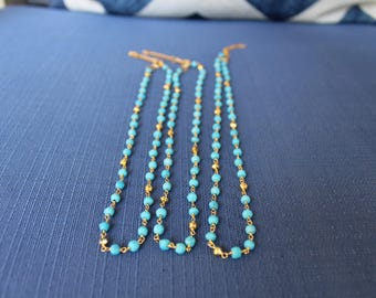 Turquoise and Gold Rosary Chain Choker