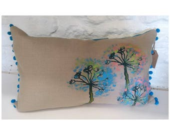 Screen Printed & Hand Painted Floral design Bobble Trim Cushion