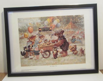 """Bradford Exchange Art Print Lithograph Framed - One Scoop Or Two : by Stewart Sherwood 11"""" x 14"""" 1997"""