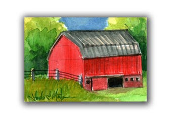 Red Horse Barn Farm Country Baby Nursery llmartin Original ACEO New Mom Grandma Miniature Watercolor Father Dad Free Shipping USA Child