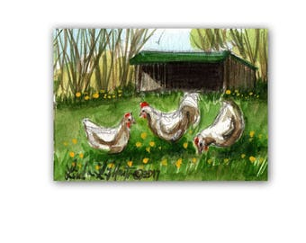 Hens Pasture Shed Farm Baby Nursery llmartin Original ACEO Father Grandma Miniature Watercolor Chickens Free Shipping USA Child Children