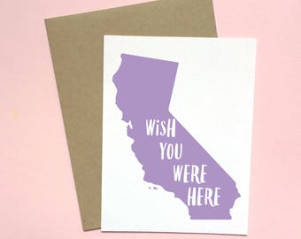California Card, Cali Card, Thinking of You Card, Wish You Were Here Card, Missing You Card, Friendship Card, Golden State Card