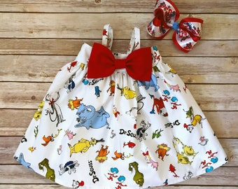 Dr Seuss Bow Dress, Cat in the Hat Dress, One Fish Two Fish Dress