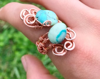 Chrysocolla Ring, Wire Wrapped Ring, Wire Rings, Chrysocolla Jewelry, Gemstone Ring, Gemstone Jewelry, Natural Stone Ring, Wire Ring