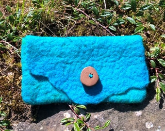 Turquoise wet felted Purse