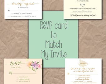 RSVP card to match any invite on my shop/any size/digital file/printable