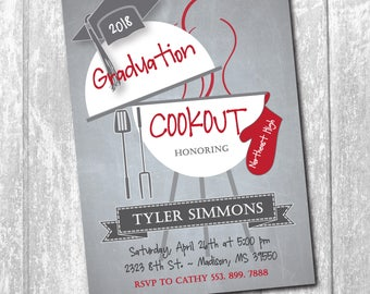 Graduation Cookout Party Invitation printable/Digital File/bbq, class of 2018, grilling, burgers, boy, girl/Wording & colors can be changed