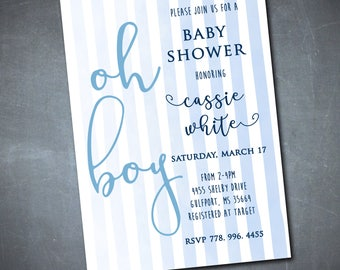 Oh Boy Baby Shower Invitation printable/Watercolor baby shower, boy baby shower, ombre, navy, blue, white, oh boy/Wording can be changed