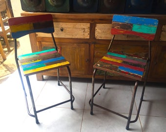 reclaimed solid wood dining chair colorful dining chair rainbow chair outdoor chair