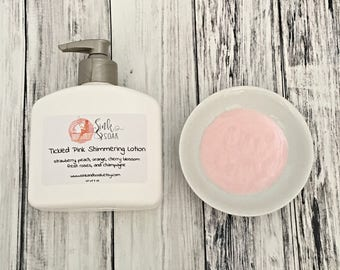 Body Lotion - Natural Lotion - Shimmering Lotion - Homemade Lotion - Pink Lotion - Strawberry Lotion - Tickled Pink Shimmering Lotion