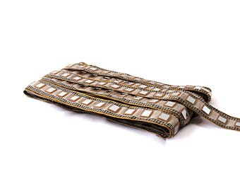 Saree Border, Mirror Trim lace, Indian ribbon Trim, dress decor, Home decor, Trim ribbon lace, hat making tape, Indian Handicraft,