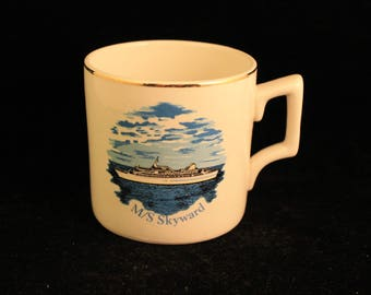 Vintage M/S Skyward Porcelain Mug Cup Yacht Ship  Gold Trim