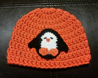 0-3 Month Penguin Hat, Baby Crochet Hat, Baby Knit Hat, Baby Winter Hat, Penguin Hat, Christmas Hat, Penguin