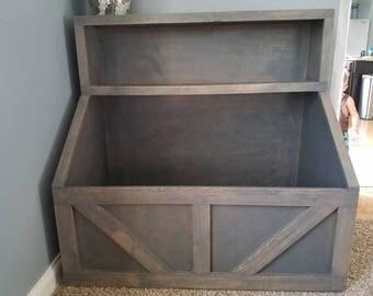 Wood toy chest.  Wood storage, toy shelf, toy storage, wood toy bin, storage solution, farmhouse toy bin, farmhouse storage, wood furniture.