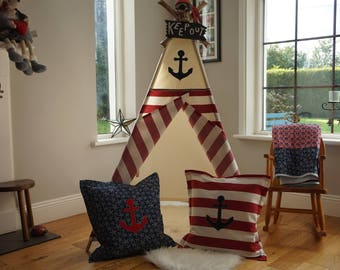Kids Teepee Play Tent, Pirate / Nautical teepee with poles. Wigwam, Childs Tepee Tent, Indoor playtent and Reading Nook.