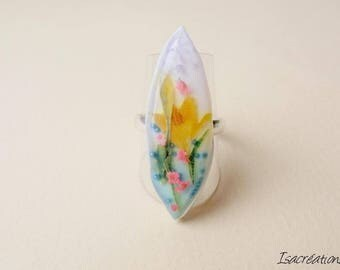 handmade yellow lilies on gradient blue and white ring