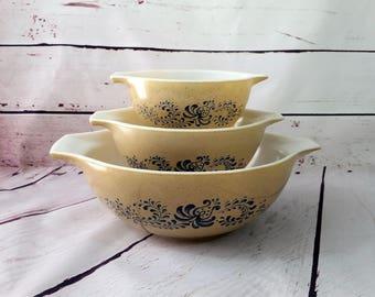 Pyrex Homestead Cinderella Mixing Bowls 441, 442, 444 -Pyrex Blue Folk Art Swirls, Pyrex Earth Tones, Blue and Brown Nesting Bowls