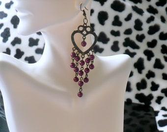 """Vintage Antique Long Dangle Earrings Large Heart with Wine Beads 4"""""""