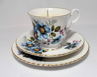Vintage Tea Cup Candle Tea Cup, Saucer and Plate Trio. Royal Windsor. Soy Wax. Fine English bone china.By Fizzy Fuzzy.