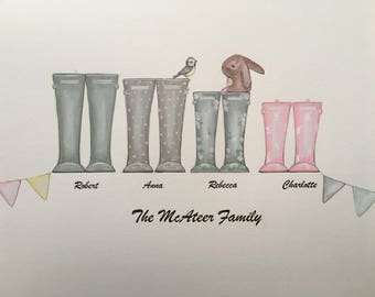 Personalised wellies and shoe family illustration, hand drawn , hand painted and framed