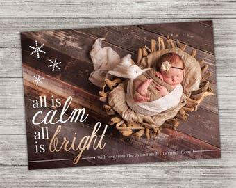 Holiday Baby Birth Announcement Photo Card - Custom