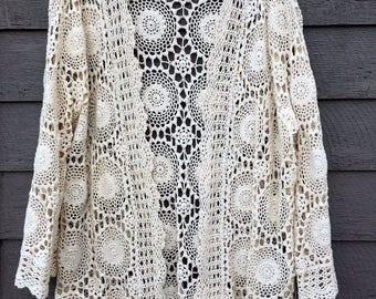JULY 4TH SALE Lori Zoni Cardigan, Long Crochet Cardigan, Cream, Open Front, Long Sleeve, Size L/Xl, Vintage