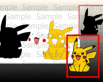 Pikachu and pieces are transparent PNG and SVG, Cuting Files For Cricut Design Space Silhouette Studio. Print, Iron on,Vinyl Decal