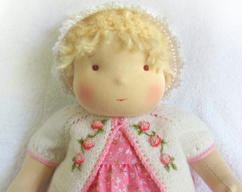 "14""(36 cm) Waldorf Doll Baby Girl. Steiner doll-cloth doll-handmade doll-soft doll-waldorf toy-natural doll-organic doll"