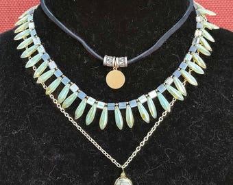 Czech Glass, jasper multilayer necklace.