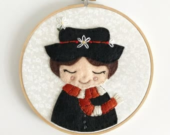 Mary Poppins Embroidery Hoop.  Embroidered wall hanging wall decor