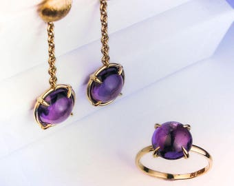 14k Yellow gold set, Amethyst earring and ring, Cabochon amethyst, Cabochon ring , Cabochon earring