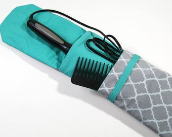 Insulated Curling Iron, Flat Iron, Hair Iron Travel Case in a Gray Quatrefoil Design with a Spearmint Interior