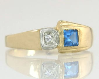 Designer Estate 14K Yellow Gold .30ct Genuine Diamond & Aquamarine Ring 2.6g
