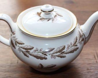 Vintage MINTON Teapot Elizabethan Oak Brown and Pink Made in England