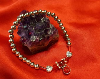 July Birthstone Beaded Stretchy Bracelet
