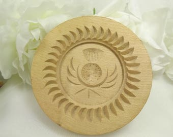 Scottish Shortbread Mould/ Mold/ Press,Thistle Wooden Small