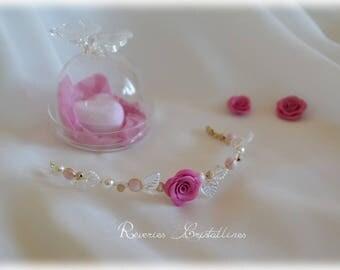 Wedding bracelet gold, pink cold porcelain - jewelry wedding bridal bracelet, gold jewelry wire, pink bracelet, wedding ornament