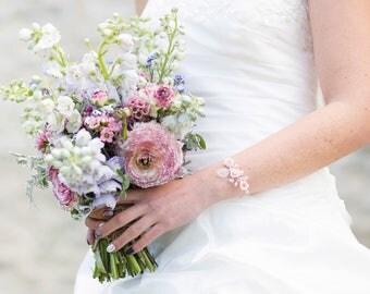 Silver plated wire, wedding bracelet pink cold porcelain, sheet glass, silver bracelet - wedding jewelry, bridal bracelet, flowers
