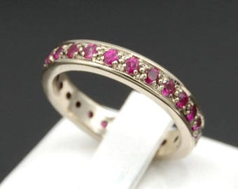 White gold 14 k ring band ruby 1.02 ct size 7 US