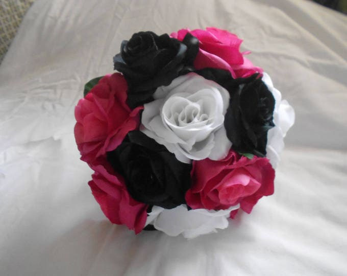 Bride maids bouquet set of 4 with 4 grooms boutonniers includes watermelon black and white