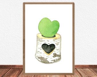 Heart succulent Printable, Illustration, Poster