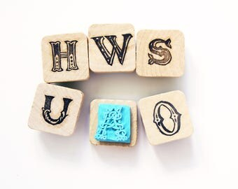 hand carved letters stamps,vintage style letter stamp,name letter stamp,typography stamp,font stamp,back to school,name gift,alphabet stamp