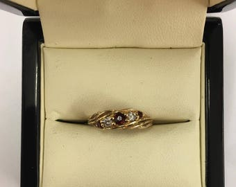 Vintage 9ct Yellow Gold Garnet and CZ Ring Size L