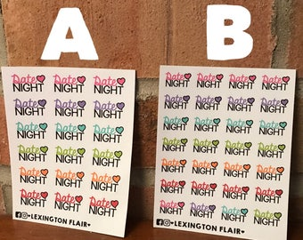Date Night Stickers For Your Planner or Calendar. Works Great for ECLP, Filofax, happy planner