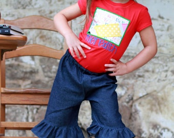 Red Pencil and denim ruffle capri School Outfit without bow