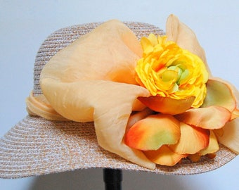 Orange and yellow straw summer hat, Cape at summer colors, unique piece